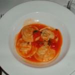 Ravioli stuffed with seafood and vegetables