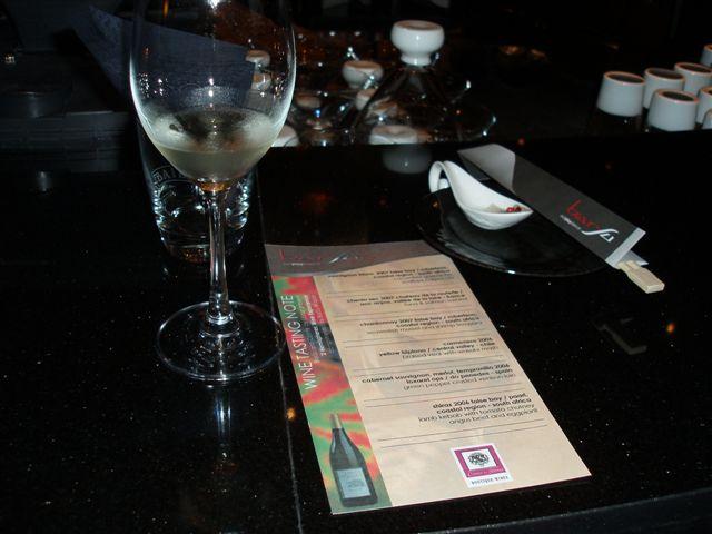 Wine Tasting Menu and Notes