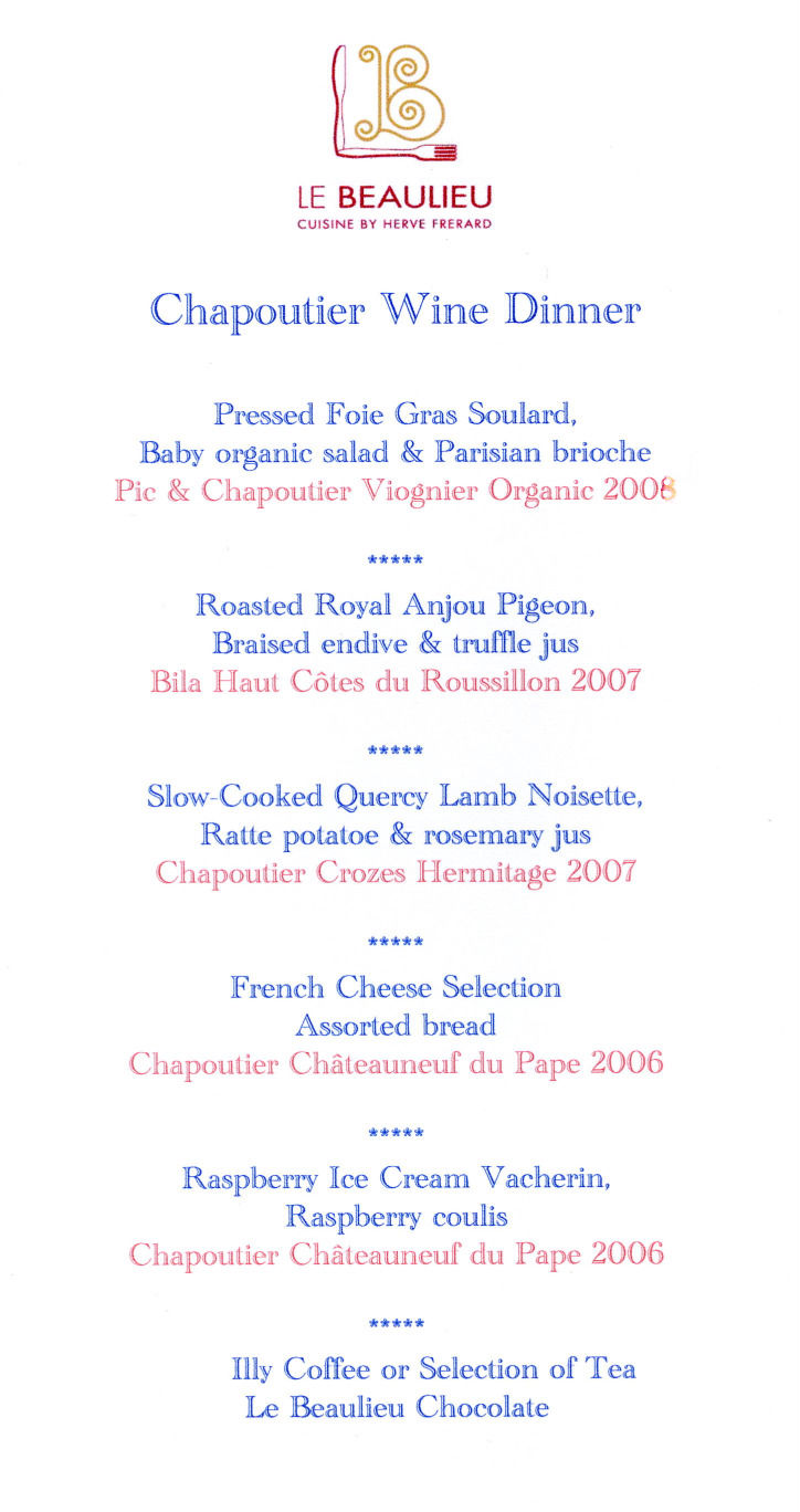 Chapoutier Dinner Menu Le Beaulieu