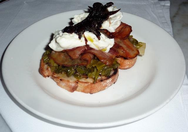 Burrata w/Bacon, Marinated Escarole & Caramelized Shallots (image credit: Sandy Driscoll)