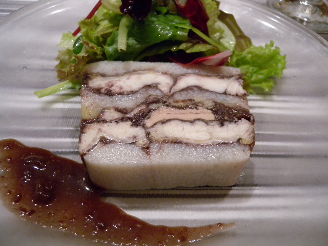 Terrine of sticky potato and fresh water eel