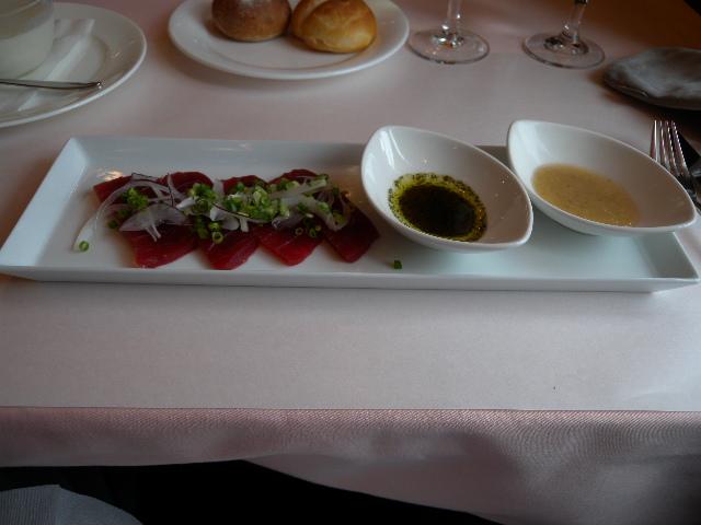 Tuna sushi, wasabi & ponsu sauce