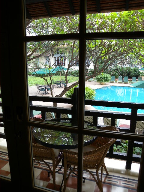 Raffles view from room through Plumeria