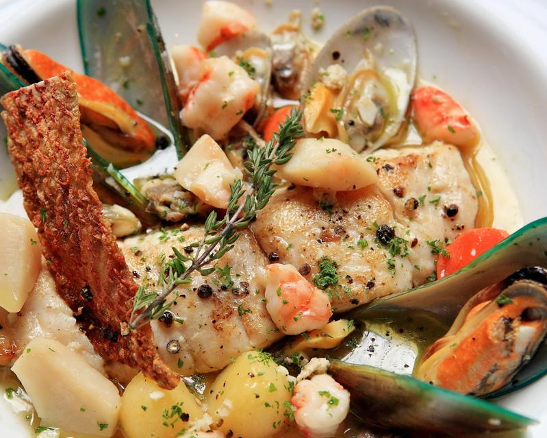 PAN FRIED ANDAMAN RED SNAPPER WITH ASSORTED SHELLFISH SAUCE & WHITE WINE